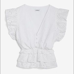 NWT Express Eyelet Tiered Button Front Top
